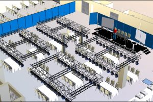 Ballroom Function Layout, Tables, Chairs And Stage