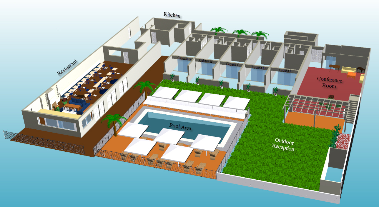 Hotel Function Layout, Floor Plan With Labels