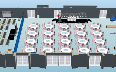 3D Visio Group Floor plan, Table Layout With Stage