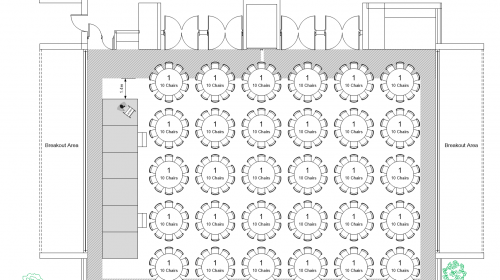 Plan Shows 30 1.8m Round Tables With Stage