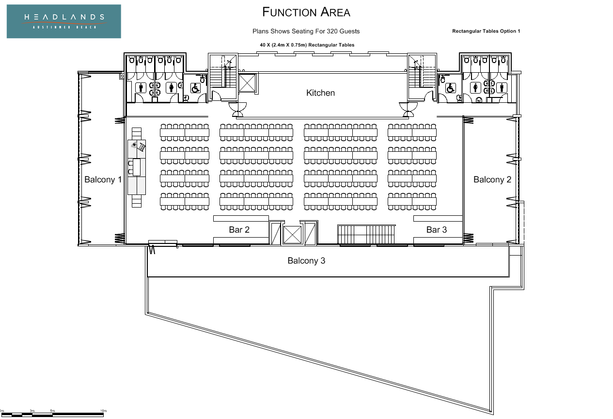 Headland Hotel Trestle Tables And Seating Floor Plan