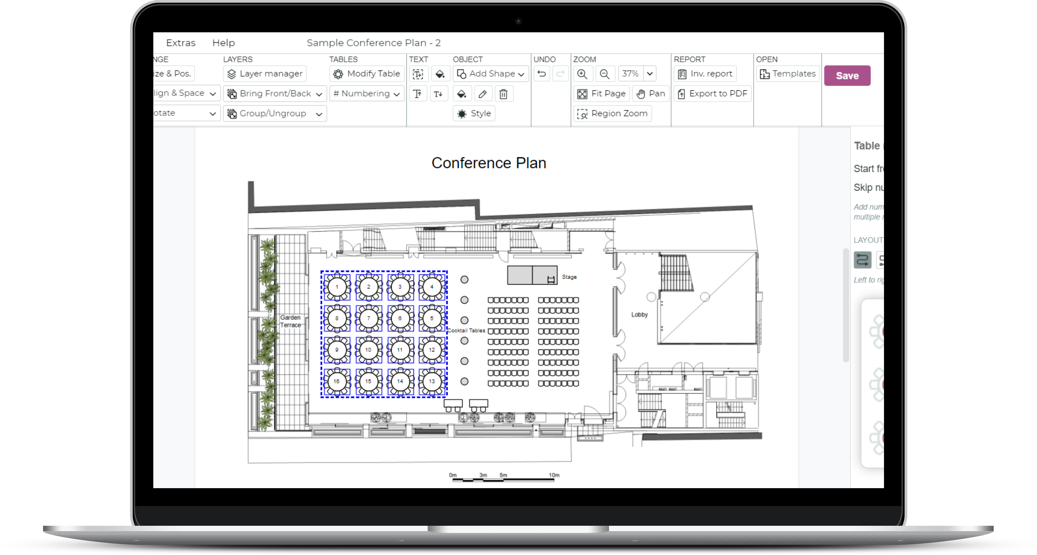 3D Visio Group Function Layout With Tables, Chairs And Stage